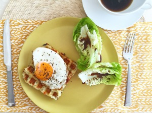 Halloumi Cheese and Potato Waffles with Soft Egg and Baby Lettuce Salad